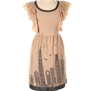 Yumi Skyline Print A-Line Dress